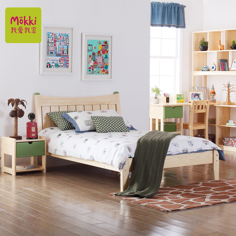 I love my children home furniture finnish pine wood children's bed wood almond white 1.2/1.5 children's suite