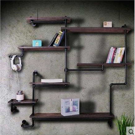 I love the american style retro industrial pipe racks rack wrought iron wall shelf bookcase shelf wood shelf display racks