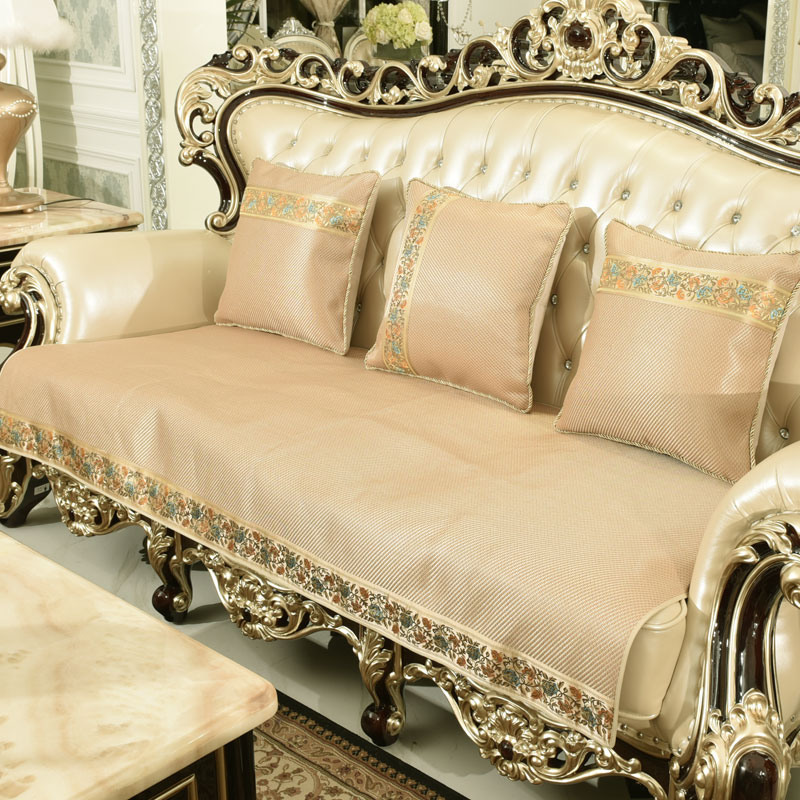 Ice Silk Sofa Cushion Continental Luxury Mahogany Wood Slip Leather