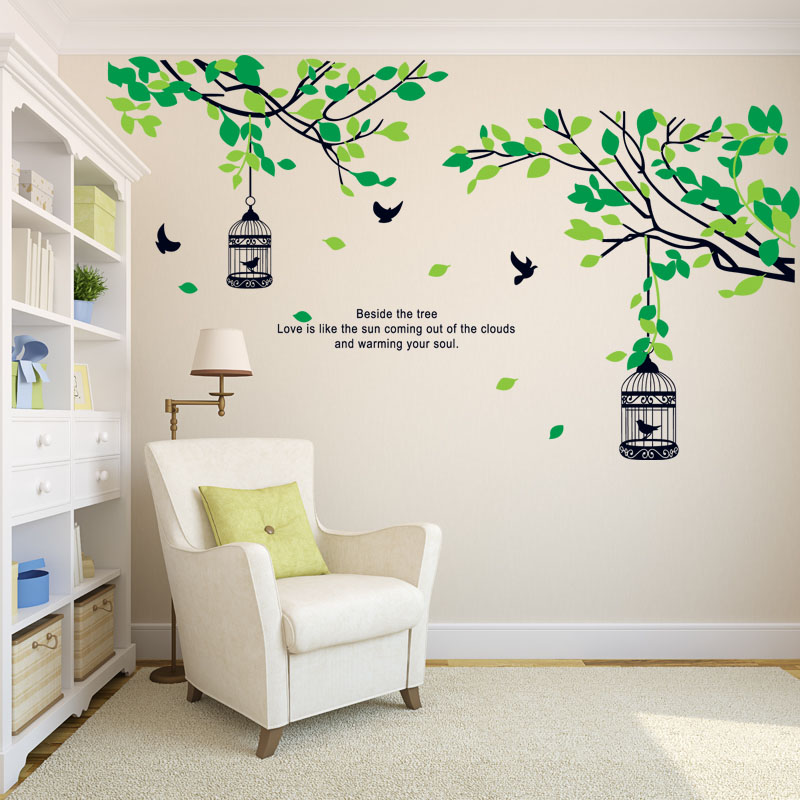 Idyllic romantic living room bedroom creative tv background wall stickers room decor sticker leaves birdcage