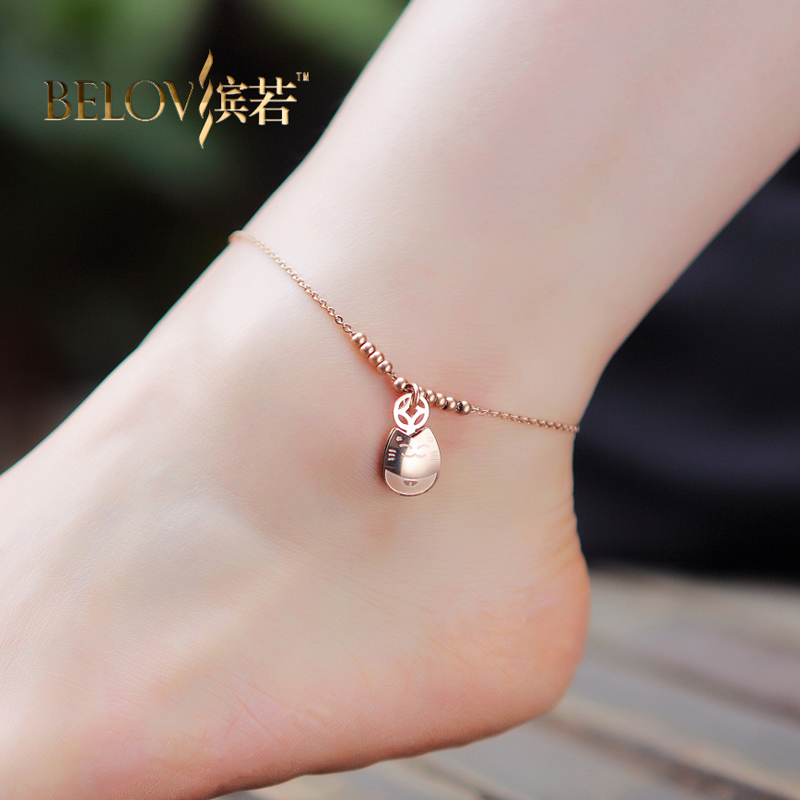 If bin k rose gold plated anklets female korean fashion titanium steel korean jewelry lucky cat gift hypoallergenic
