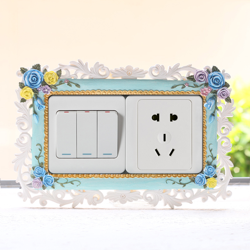 If korea creative pastoral resin double open switch stickers wall stickers home decor wall decoration wall socket protective cover