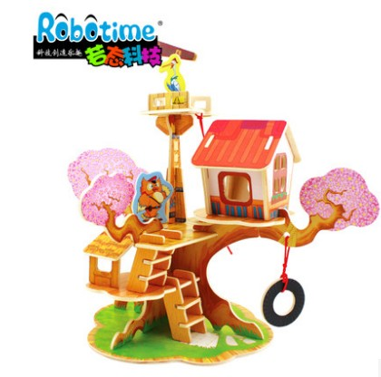 If the state of 3d dimensional jigsaw puzzle handmade children's educational toys wooden building jigsaw puzzle intellectual force assembled model
