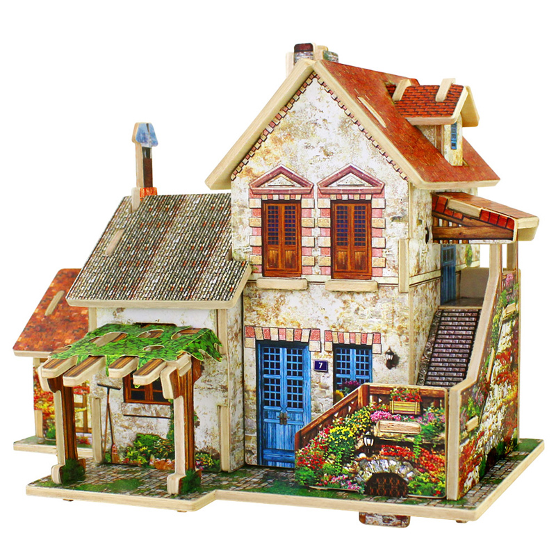 If the state of 3d dimensional jigsaw puzzle wooden building model toy wooden puzzle adult child diy handmade model house