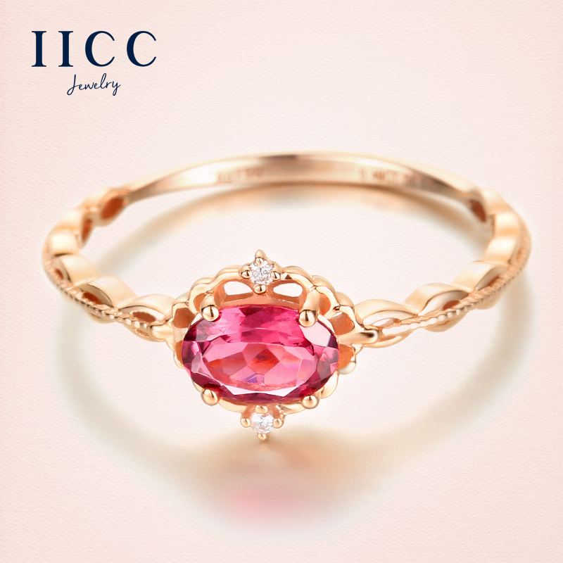 Iicc k gold rings female k gold rose gold color gold ring ring red tourmaline diamond gemstone jewelry custom jewelry