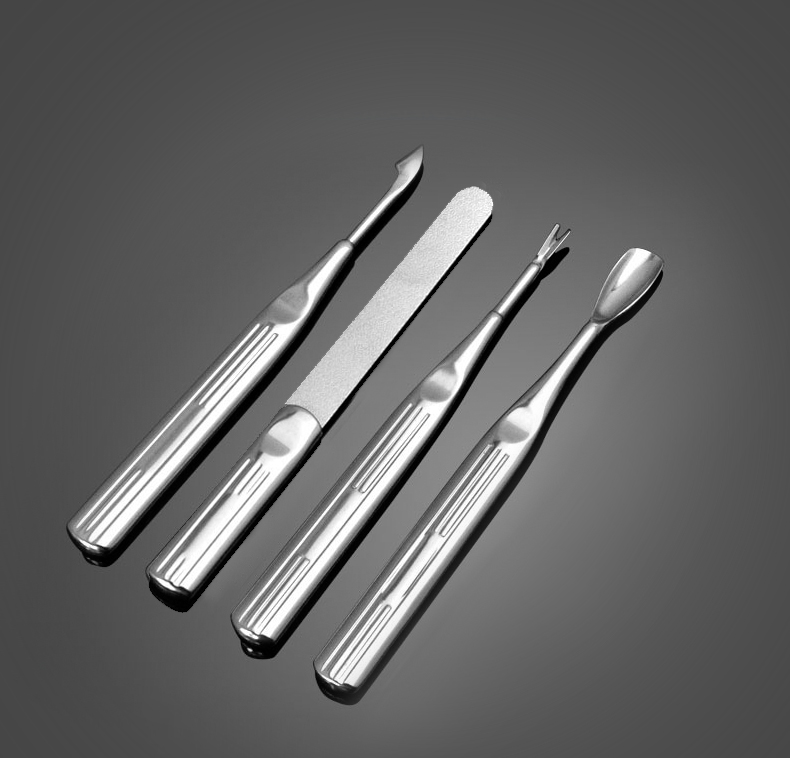 Ikonna nail tools exfoliate dead skin fork nail manicure kit stainless steel grinding 4 sets of push