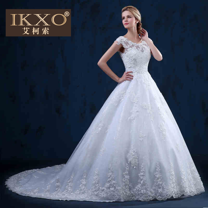 Ikxo2015 autumn new wedding dress bride wedding ceremony outdoor white fashion new long trailing wedding