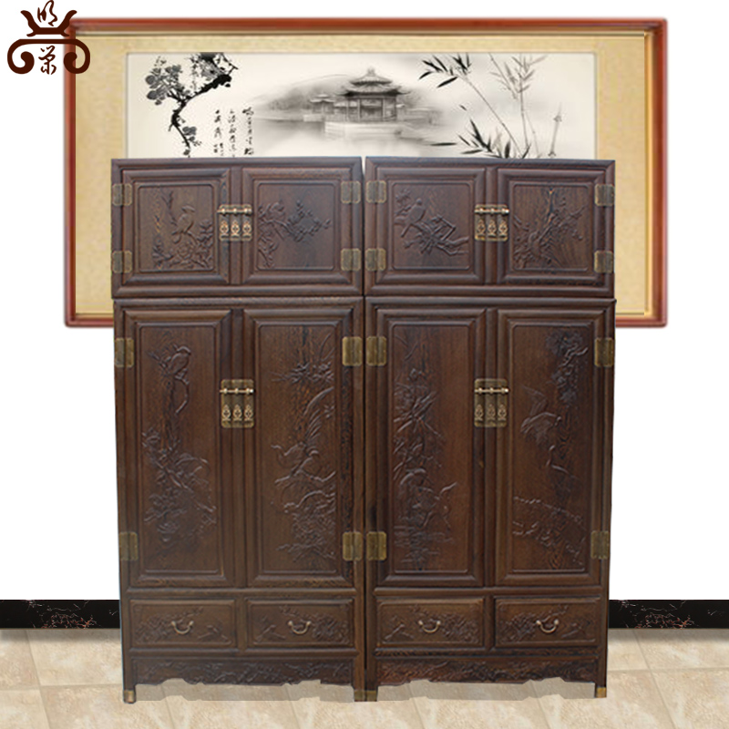 Imitation ming and qing classical mahogany furniture african wenge four chinese all solid wood bedroom storage wardrobe closet
