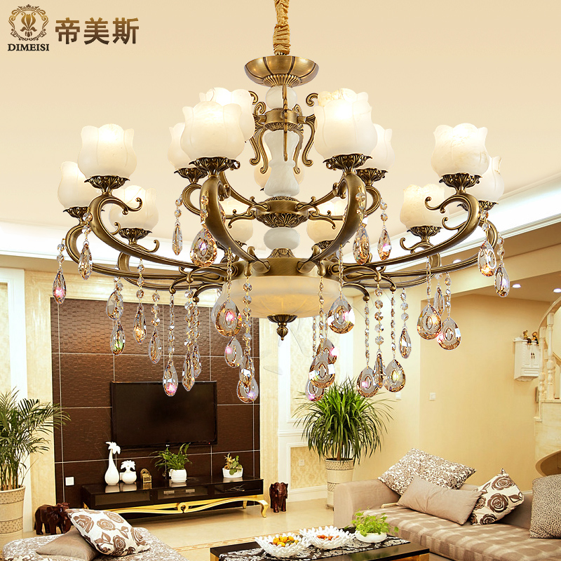 Imperial mae natural marble lamps all copper european luxury crystal chandelier crystal lamp chandelier penthouse living room with double