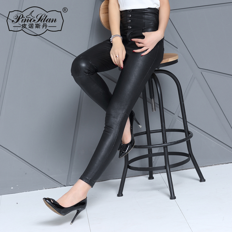 In europe and america slim stretch outer wear tight leather pants leather pants female waist slim wild long pants skinny leg pants remarkable woman