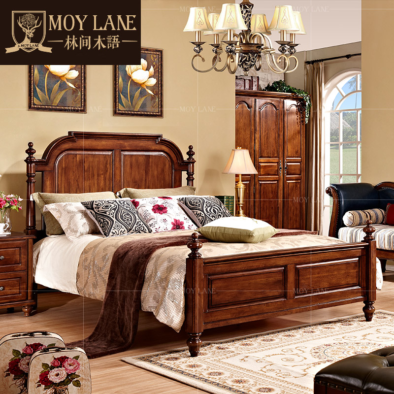 In forest wood furniture american classical solid wood jianmei continental bedroom furniture bed 1.5 m beds of theb3
