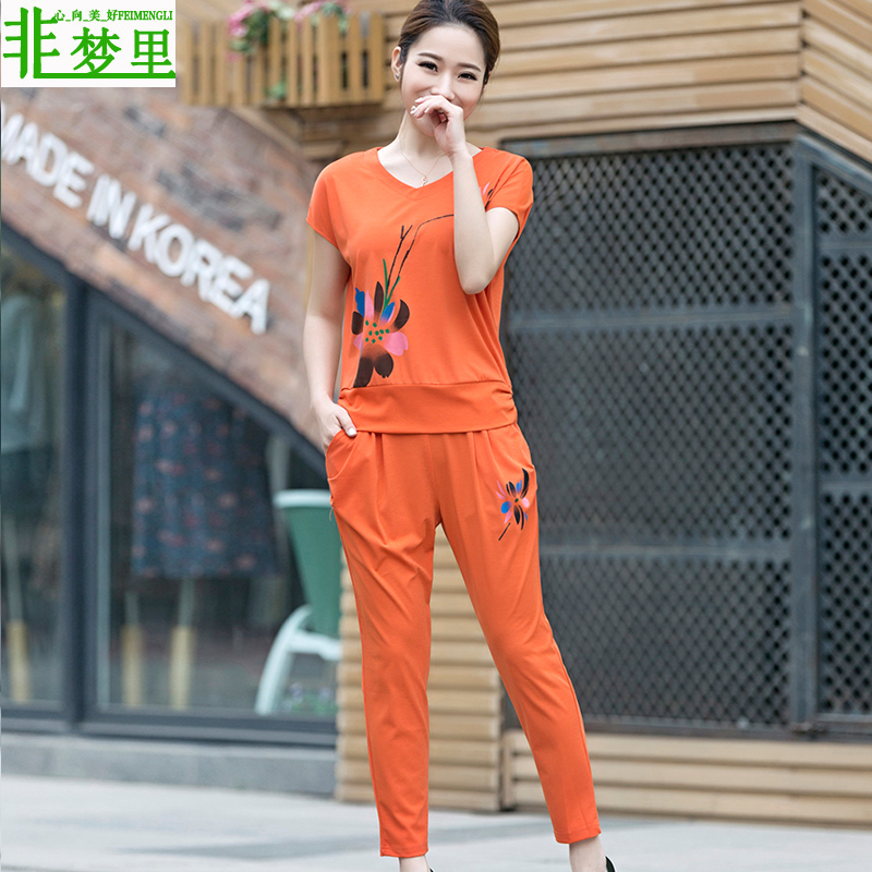 é梦in sports and leisure suit female summer 2016 new big yards short sleeve middle-aged mom mother dress loose piece