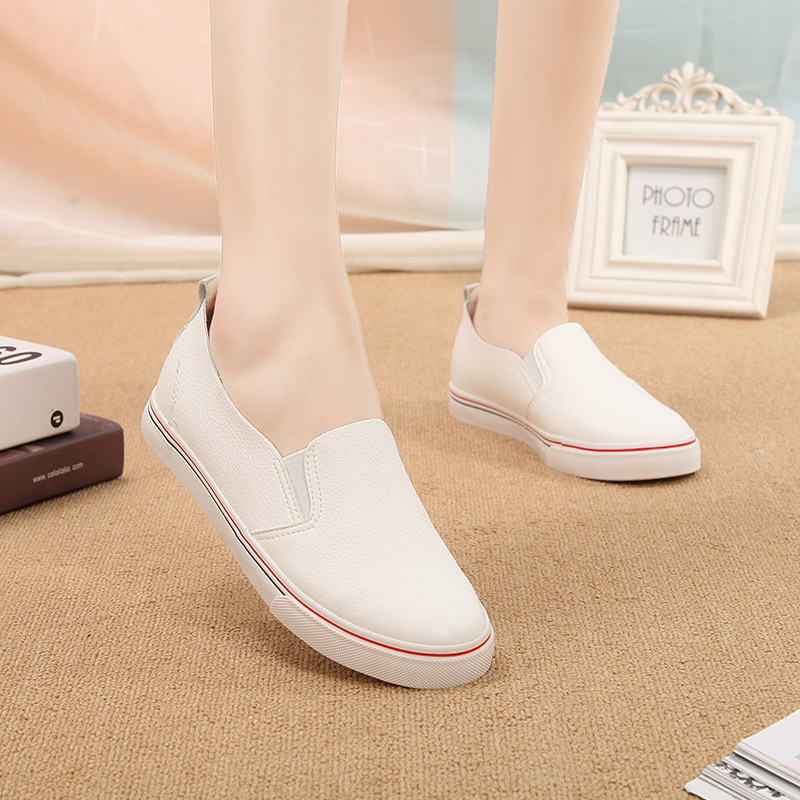 In summer and autumn thin end of a pedal lazy shoes to help low leather loafers shoes solid color canvas shoes korean version of casual free care