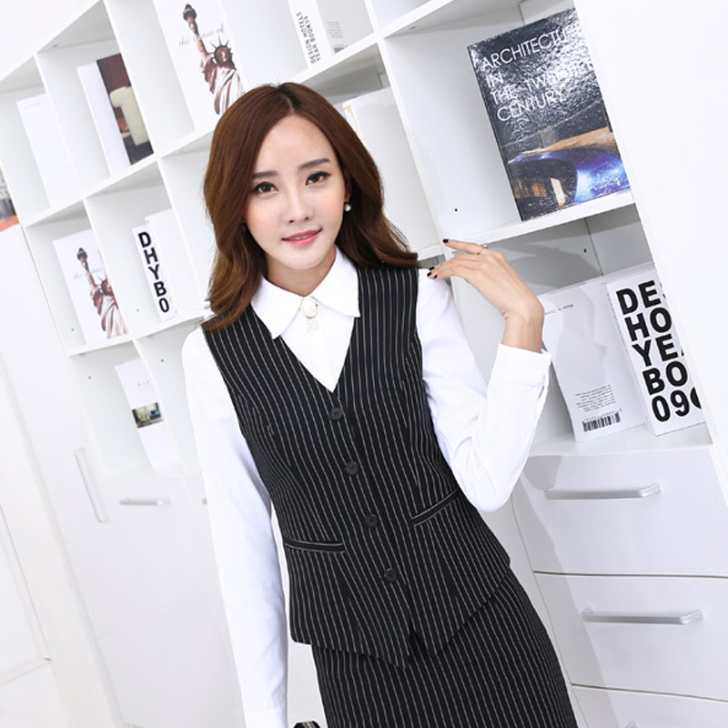 In the summer of euphemised three sets of children 2016 autumn new slim wear skirt suits ol leisure black striped vest