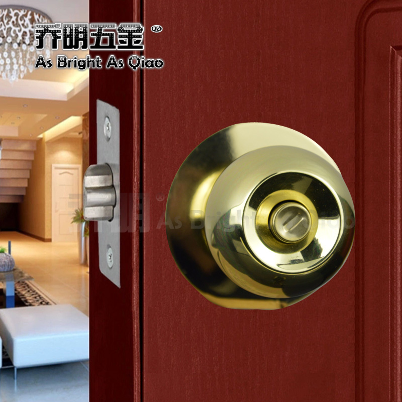 Indoor 304 light golden ball lock round lock lock the doors spherical ball lock lock the bedroom toilet room door lock free shipping