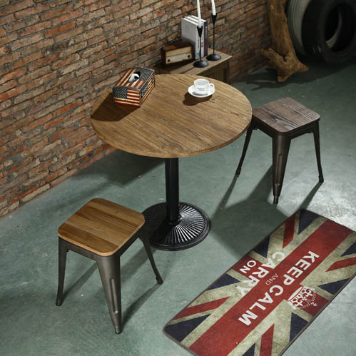 Industrial loft american country style wrought iron wood coffee table round table dining restaurant and coffee table small round table restaurant tables and chairs
