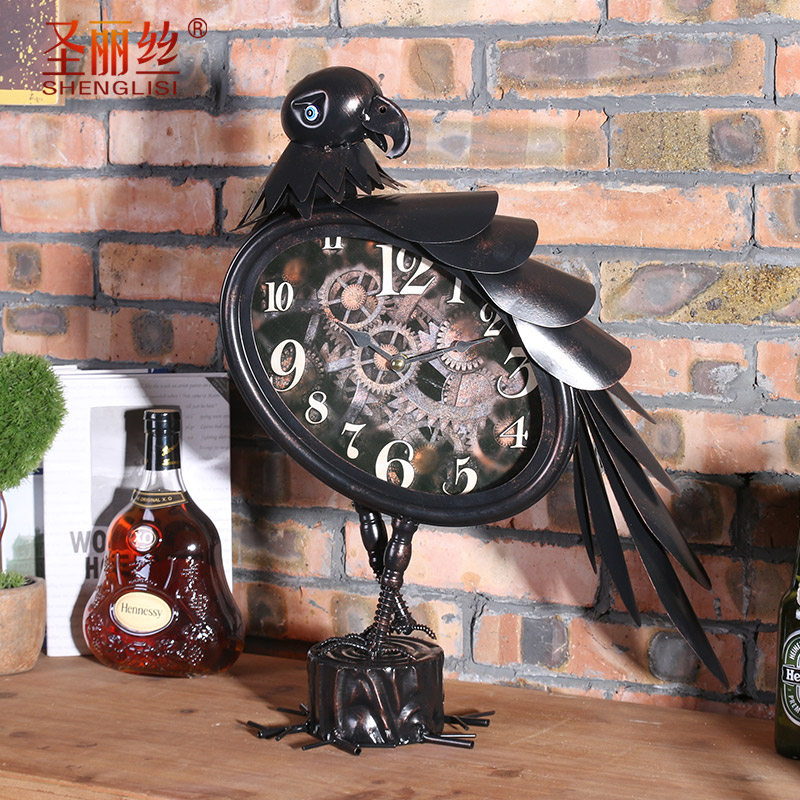 Industrial style wrought iron wall clock owl living room cafe bar decorative wall hanging wall clock wall soft decoration