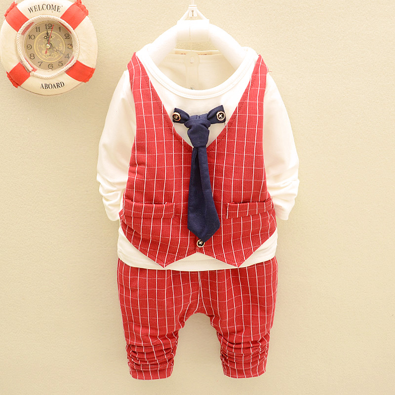 Infant clothing spring and autumn 1-2-year-old male baby plaid suit vest and tie gentleman suit Q1036