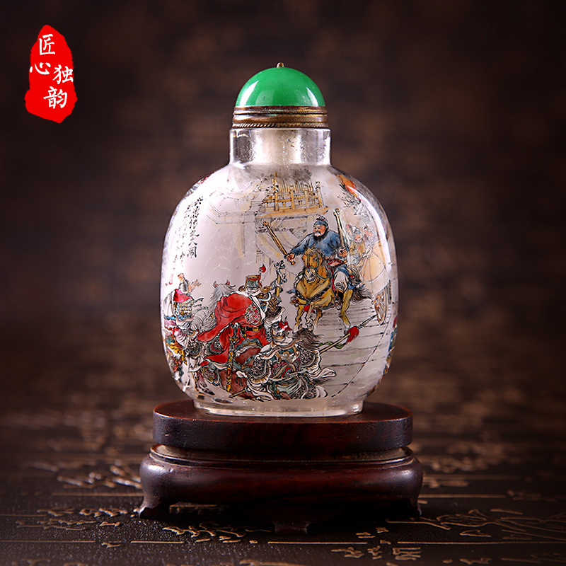 Ingenuity alone rhyme natural crystal snuff bottle inside painted xing tang chuan collection