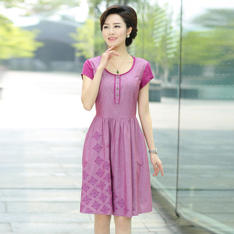 Ink lady 2016 new summer women's middle-aged mother dress 40-50-year-old embroidered round neck dress women