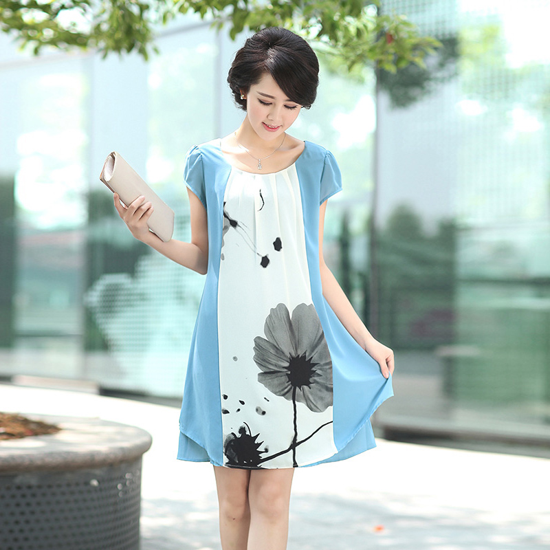 Ink lady 2016 new summer women's middle-aged mother dress 40-50-year-old ink print dress women