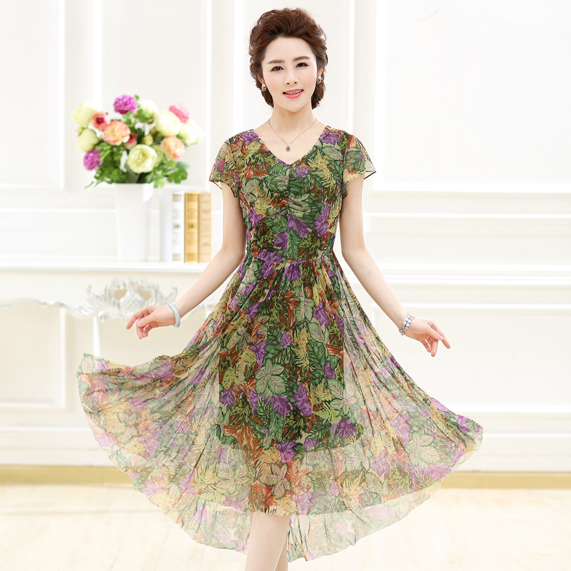 Ink lady 2016 new summer women's middle-aged mother dress 40-50-year-old leated slim dress women