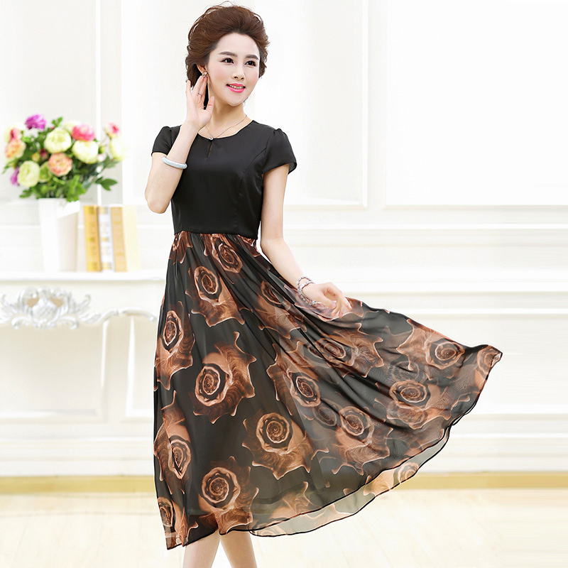 Ink lady 2016 new summer women's middle-aged mother dress 40-50-year-old slim long dress women