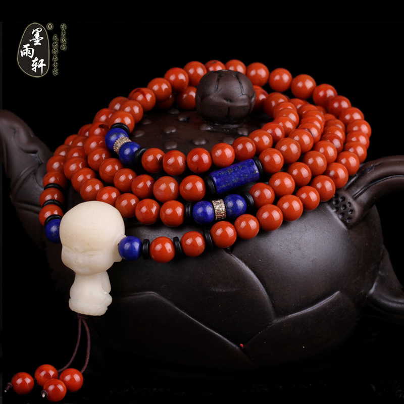Ink yu xuan natural liangshan south persimmon red onyx bracelet bracelets 7mm prayer beads stone persimmon red rose