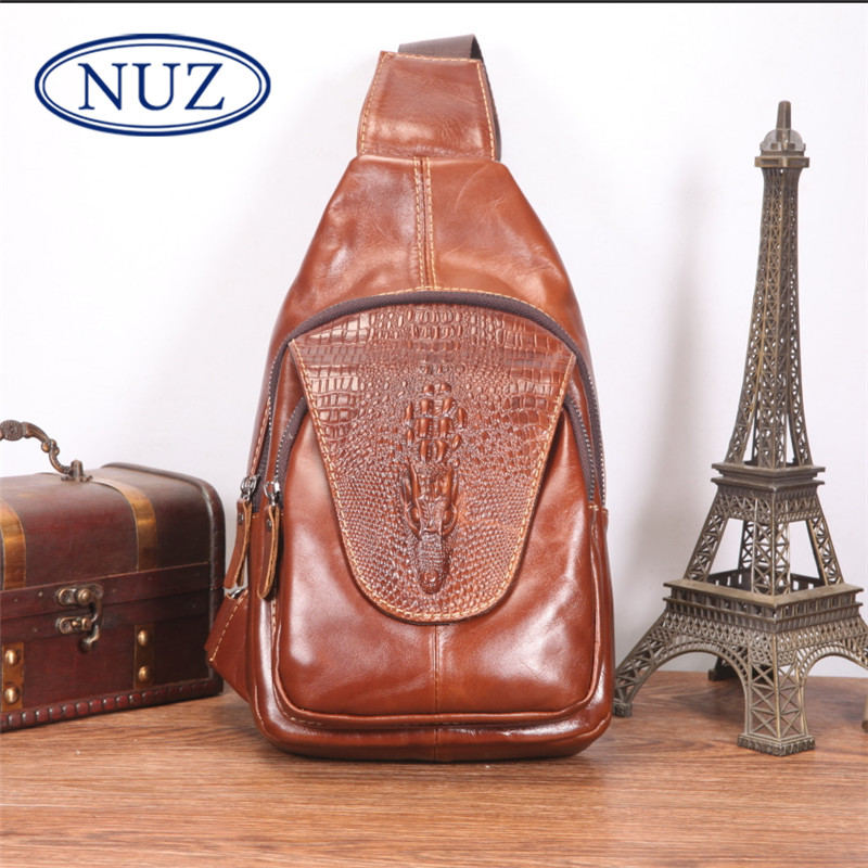 Inside patch pocket bucket type dermatolyphic nuz cowhide oil wax leather man bag messenger bag chest bag new casual 0174