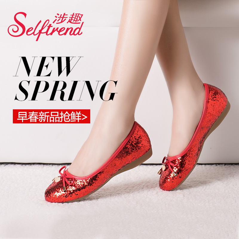 Interest involving 2016 new shoes in spring and autumn shoes omelets female sequins round shallow mouth bow ballet flat shoes
