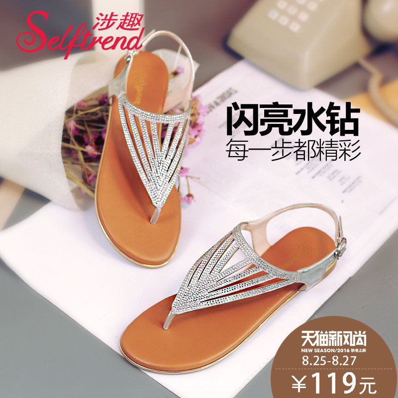 e2bf594aa766c4 Get Quotations · Interest involving thong sandals female summer 2016 new  korean version of the simple buckle shoes with