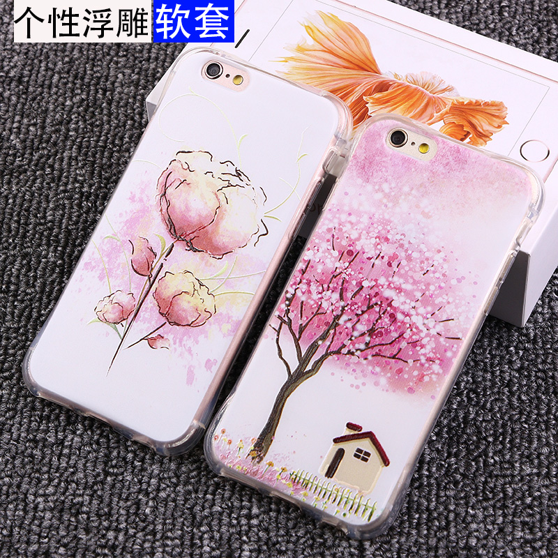 Iphone6 phone shell mobile phone shell full of sweet s apple i6p protective sleeve popular brands plus thin transparent personality simple woman