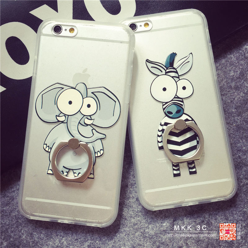 Iphone6 plus phone shell cute cartoon zebra ring buckle elephant protective sleeve apple s soft pouches