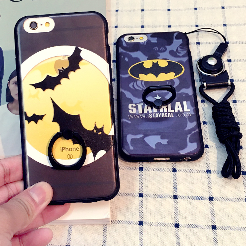 Iphone6plus phone shell apple 5.5 s silicone protective sleeve lanyard 4.7 batman ring bracket tide