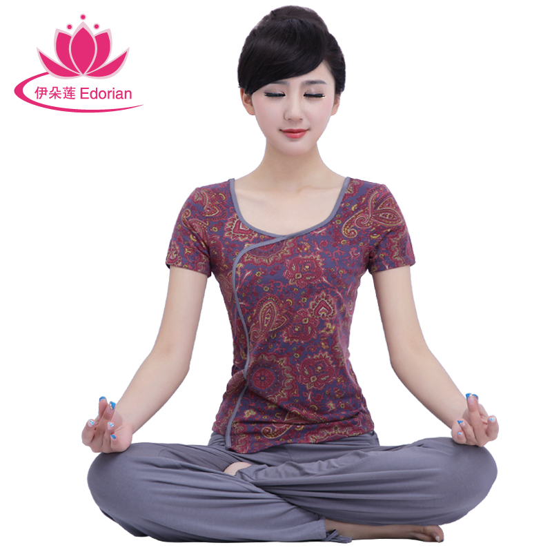 Iraq lotus flower spring and summer new printing short sleeve yoga clothes suit yoga clothes dance clothes yoga clothes and women 4344
