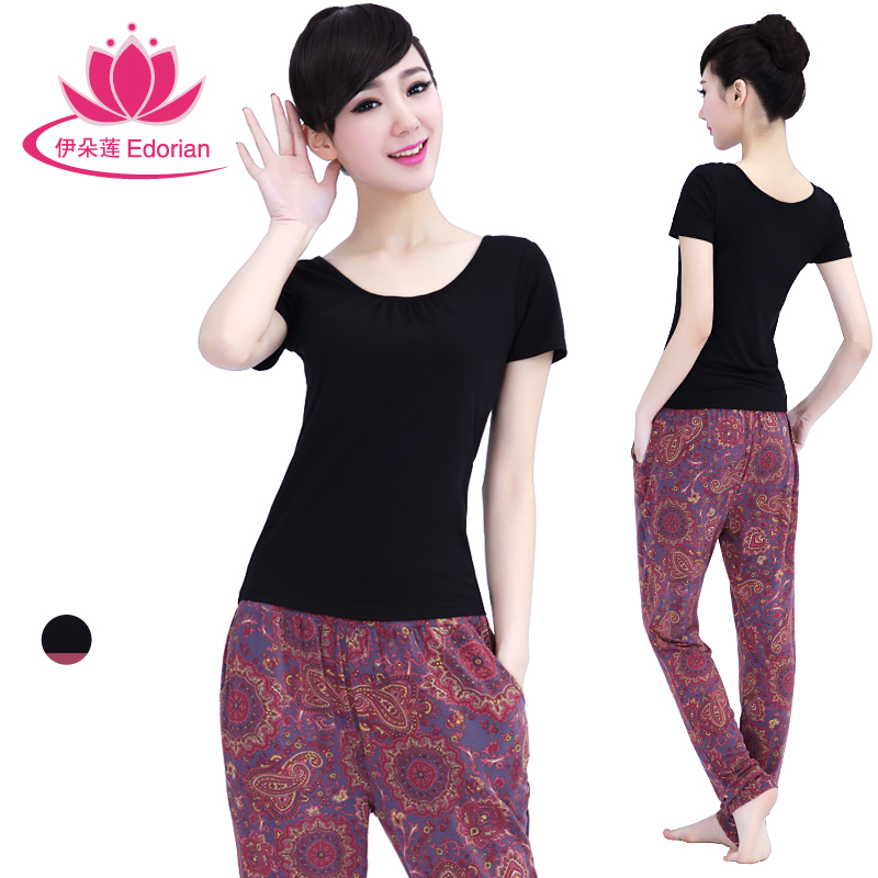 Iraq lotus flower spring and summer yoga clothes suit short sleeve printing even more clothes yoga clothes female fitness free shipping