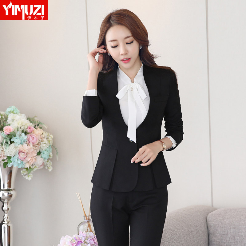 Iraq muzi autumn and winter suits women wear long sleeve suit trousers three sets of business suits tooling taoku