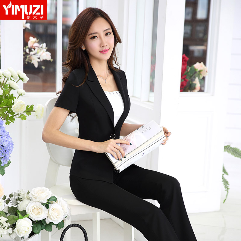 Iraq muzi interview professional suit female summer short sleeve suit collar business slim trousers overalls ol