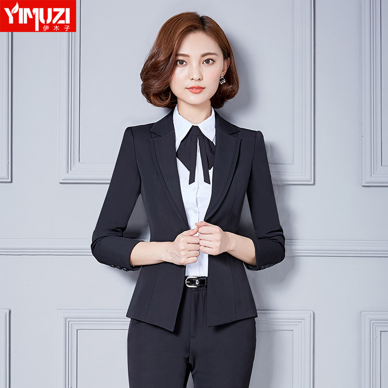 Iraq muzi professional suit trousers interview ms. company fit'suit three sets of fall and winter clothes black suit