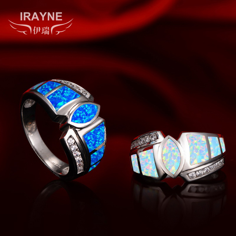 Irayne erik synthetic opal inlay color of fire opal ring nvjie 925 silver inlay zircon fashion white collar