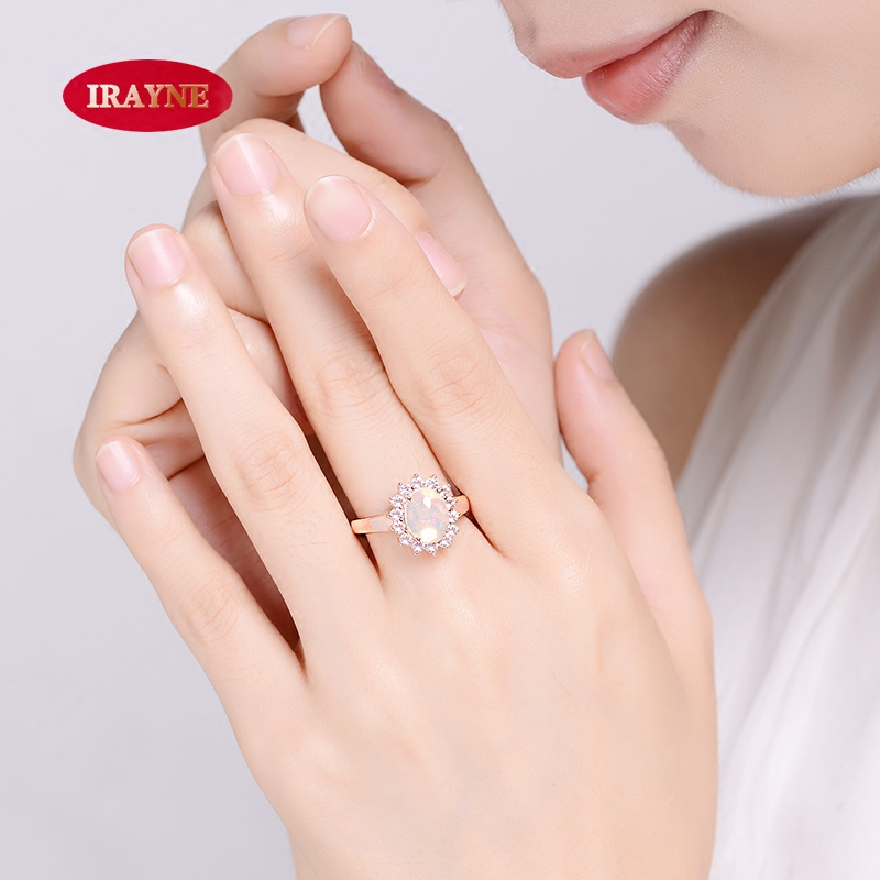 Irayne natural gemstone opal opal opal inlay zircon rose gold plated sterling silver ring transporter female models