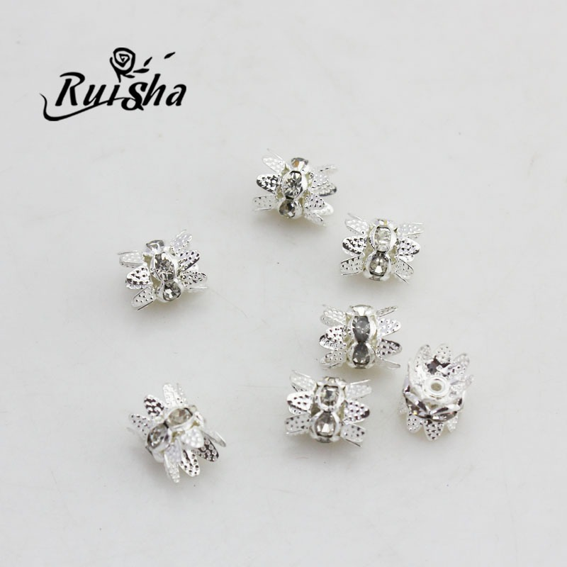 Iressa diy handmade beaded jewelry accessories material 8mm silver plated diamond ring bracelet necklace sweater chain accessories