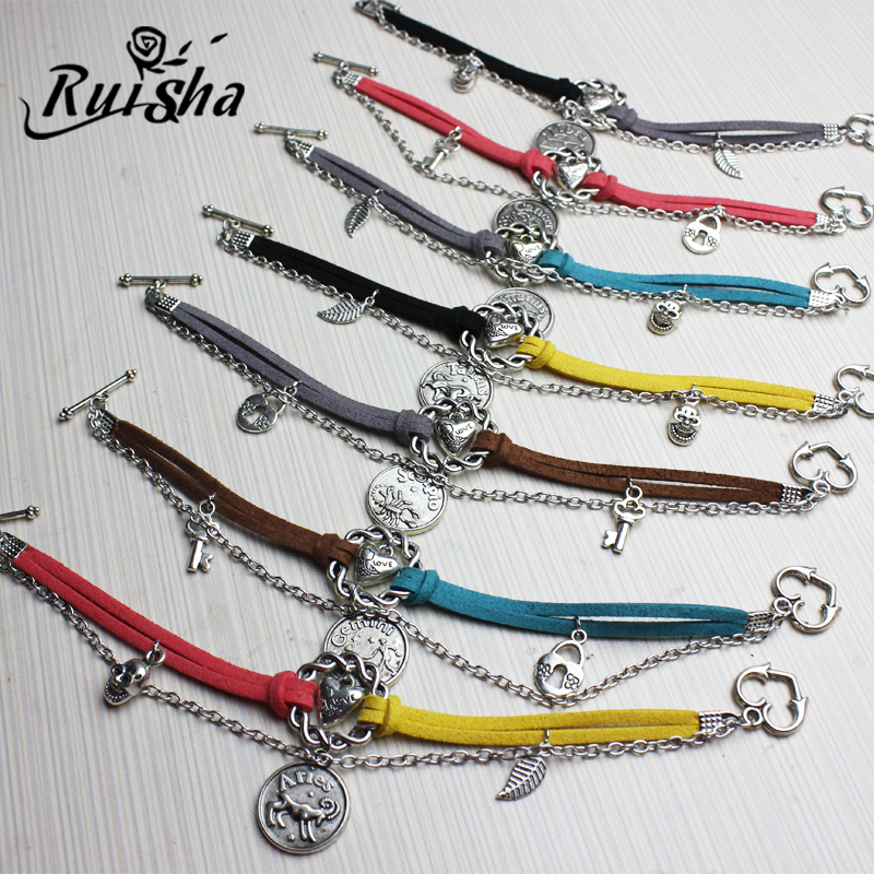 Iressa diy handmade jewelry accessories ancient silver 12 light when novice material package zodiac bracelet gemstone bracelet material