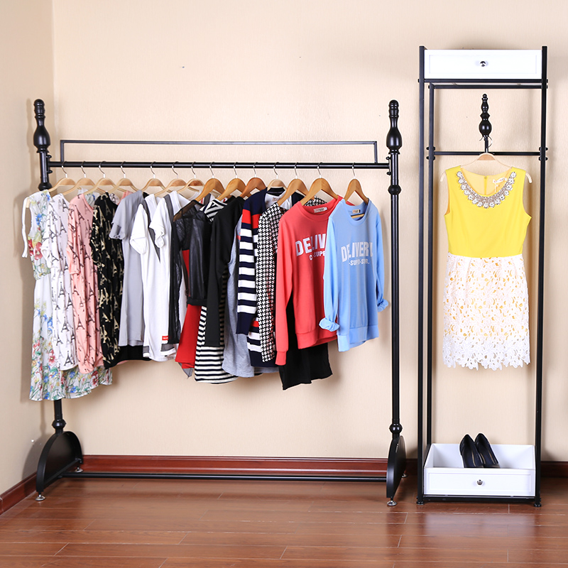 21ab6154b60ca Get Quotations · Iron clothing rack shelf floor side hanging clothes rack  clothes display rack clothing store shelf safemao