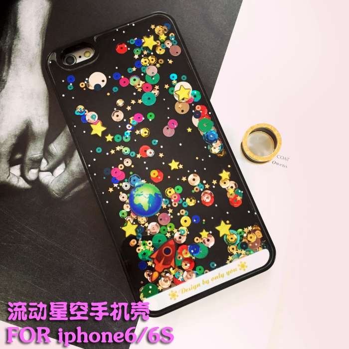 Irst flowing liquid iphone6s iphone6 apple phone shell protective sleeve sequined stars quicksand shell
