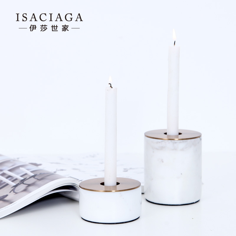 Isa family di metal marble combination with the kampala-round mouth creative candlestick candlestick candlelight dinner