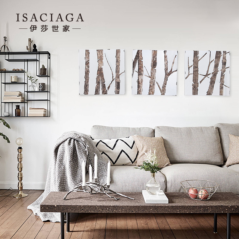 Isa family nordic quiet sense of class seoul hoof-winter forest modern triptych painting the living room decorative paintings