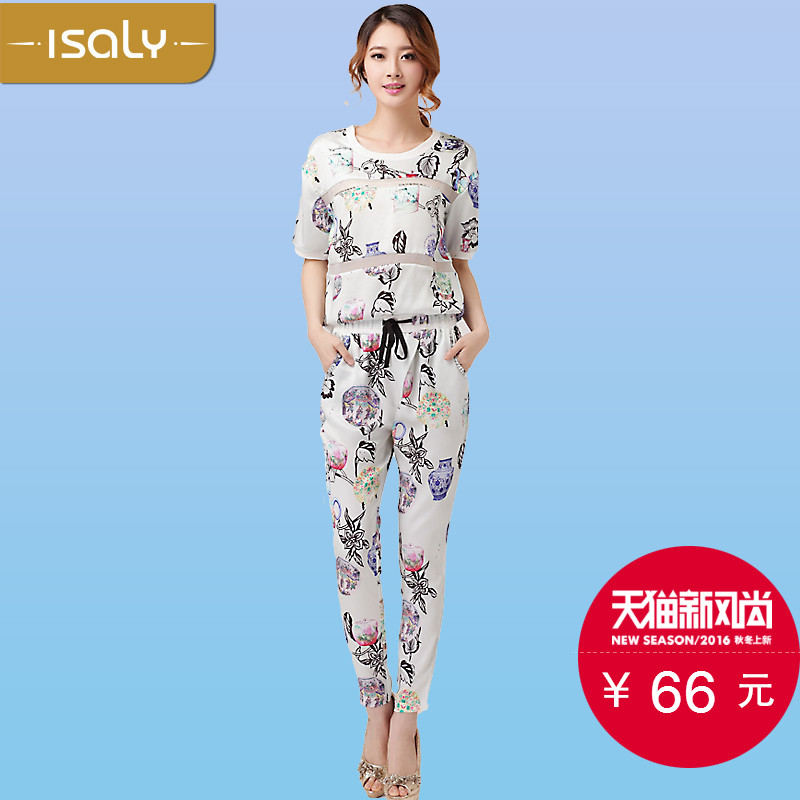 Isaly2015 summer new european and american temperament female fashion tide printing short sleeve length pants fashion leisure suits