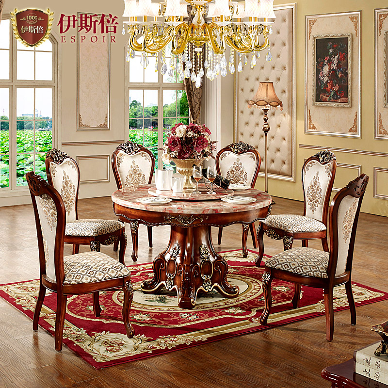 Islamic times european marble round table dinette combination of upscale archaized american dining table with solid wood dining table turntable