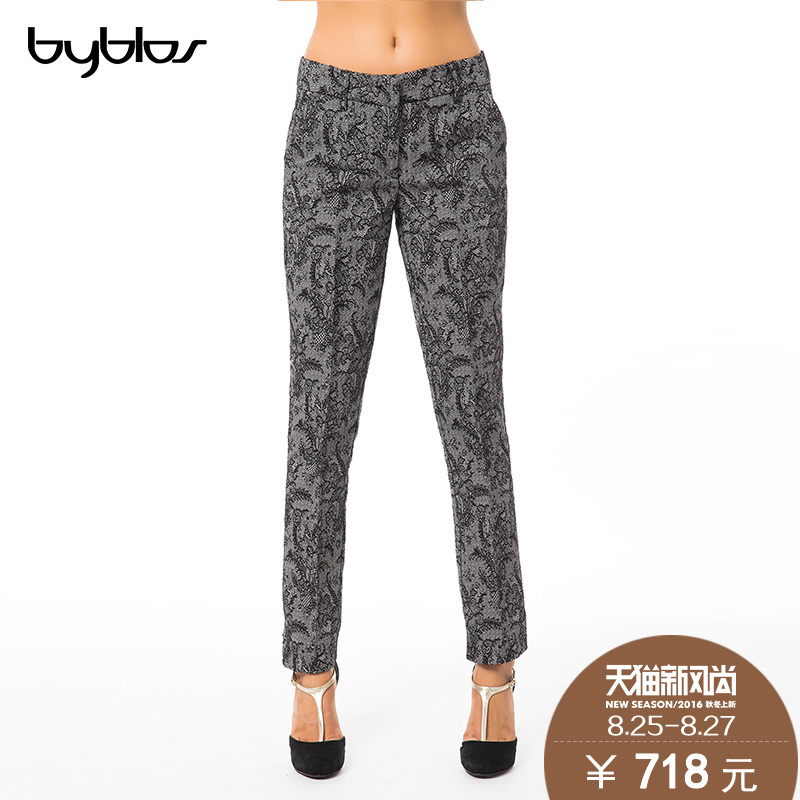 Italy byblos genuine fashion hit color printing slim was thin women straight jeans female trousers wild